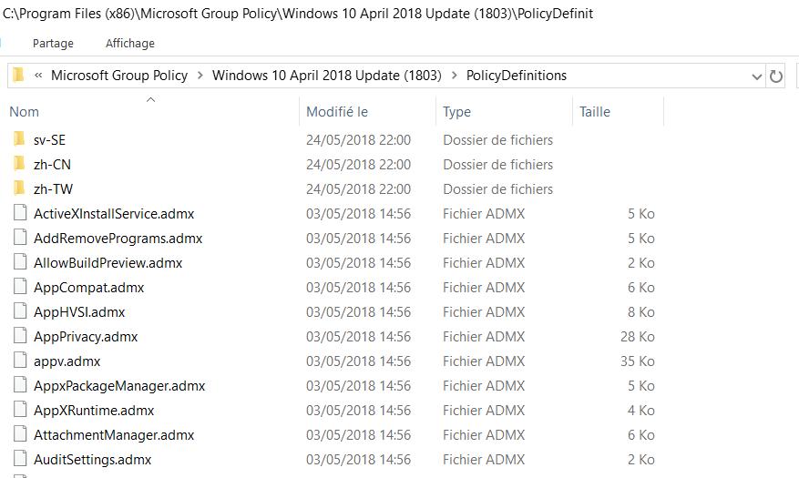 Répertoire de contenu ADMX Windows 1803